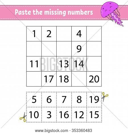 Paste The Missing Numbers. Game For Children. Handwriting Practice. Learning Numbers For Kids. Educa