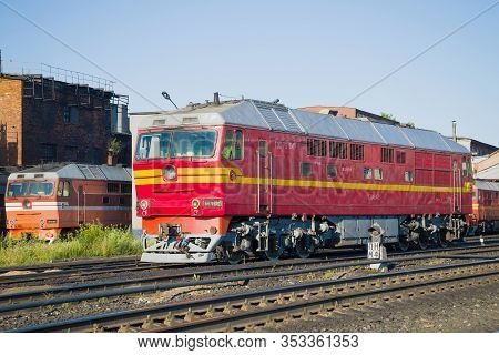 Rybinsk, Russia - July 10, 2016: Passenger Diesel Locomotive Tep-70 Closeup On A Sunny July Morning.