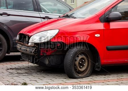 Ostrava, Czechia - January 26, 2020: A Small Red Hyundai Getz Hatchback Car With Missing Frontal Par