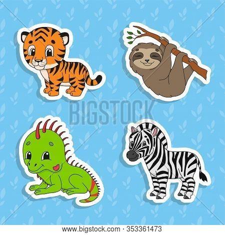 Set Of Bright Color Stickers. Brown Sloth. Green Iguana. Orange Tiger. Happy Zebra. Cute Cartoon Cha