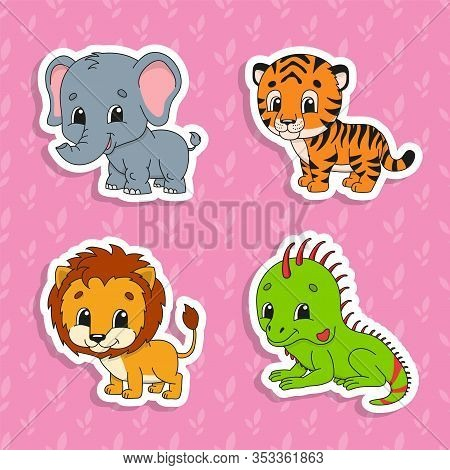 Set Of Bright Color Stickers. Orange Lion. Green Iguana. Orange Tiger. Gray Elephant. Cute Cartoon C