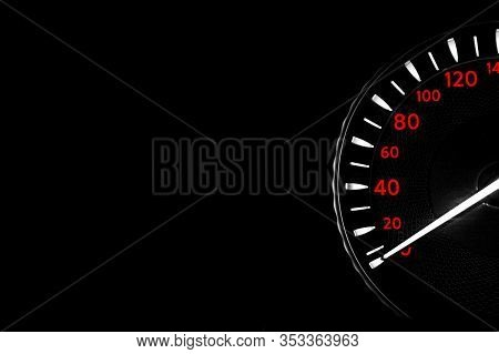Close Up Shot Of Speedometer In Car. Car Dashboard. Dashboard Details With Indication Lamps.car Inst