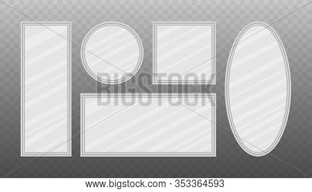 Mirror Frames Or Mirror Decor Interior. Realistic Mirrors Set. Vector Stock Illustration.