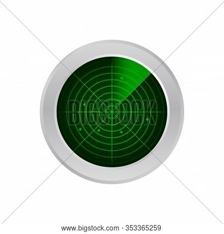 Realistic Radar In Searching. Radar Screen With The Aims. Vector Stock Illustration.