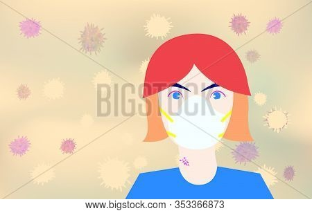 Portrait Of Woman Wearing White Mask For Preventing Smog, Dust, Pm2.5 Air Pollution In City And Coro