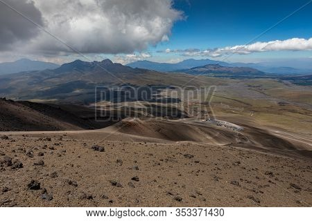 View From Cotopaxi Volvcano During Trekking Trail. Cotopaxi National Park, Ecuador. South America.