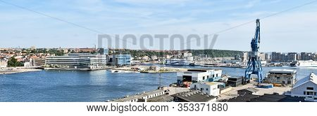 Aarhus, Denmark - July 20, 2017: Panorama Of The Port Of Aarhus In Denmark. A Ferry Of The Shipping