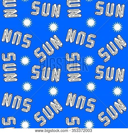 Sun Lettering. Faceted Shape Titles In Disorder. Seamless Pattern For Wrapping Paper Or Textile. Bla
