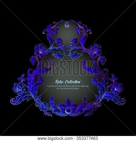 Border, Frame, Label In Baroque, Rococo, Victorian, Renaissance Style. Trendy Frolar Vintage Pattern