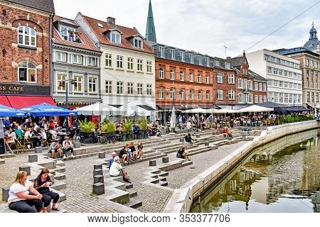 Aarhus, Denmark - July 20, 2017: Many People Enjoying The Day At Aboulevard, The Promenade Along The