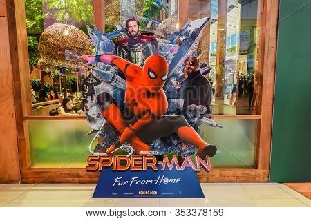 Bangkok, Thailand, 29 June 2019 - A Beautiful Standee Of A Movie Called Spider-man: Far From Home Di