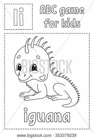 Letter I Is For Iguana. Abc Game For Kids. Alphabet Coloring Page. Cartoon Character. Word And Lette