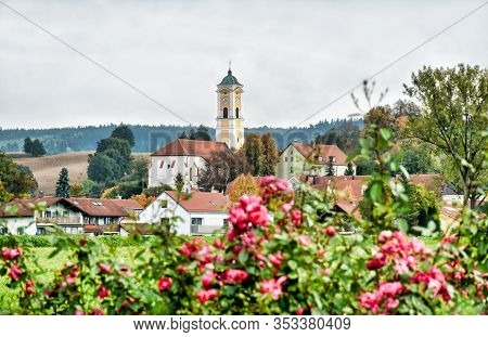 Cityscape Of The Bavarian Health Resort Bad Birnbach With The Late Gothic Parish Church Maria Himmel
