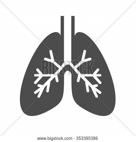 Lungs Internal Organ Vector Icon Isolated On White Background. Lungs Flat Icon For Web, Mobile And U