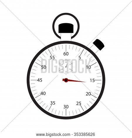 Stopwatch Isolated On White Background Vector. Chronometer Time, Timer Countdown, Measurement Time F