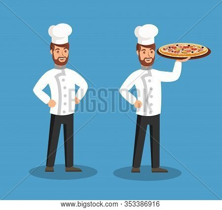 Chef Holding Tasty Pizza Flat Vector Illustration. Happy Pizzeria Worker Cartoon Character. Smiling