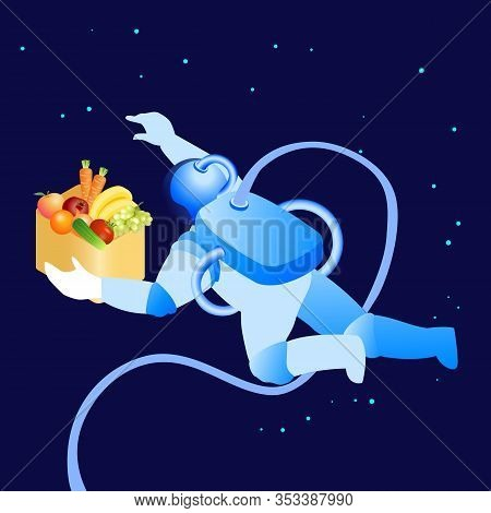 Astronaut Flying In Space Flat Vector Illustration. Cartoon Cosmonaut Holding Box With Veggies In We