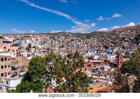 Guanajuato City Historic Center. Colorful Homes Built On Hillside. Guanajuato State, Mexico.