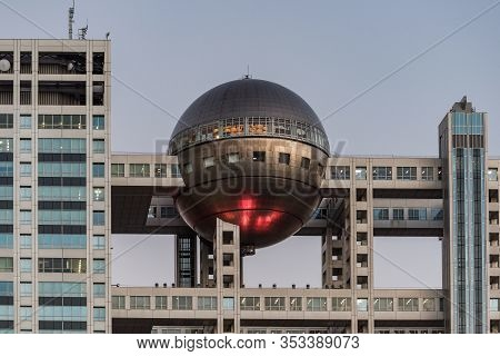 Tokyo, Japan - August 30, 2016: Futuristic Fuji Tv Building With Hatchitama Spherical Observation Ro