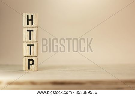 Word Http On Wooden Cubes On Yellow Background