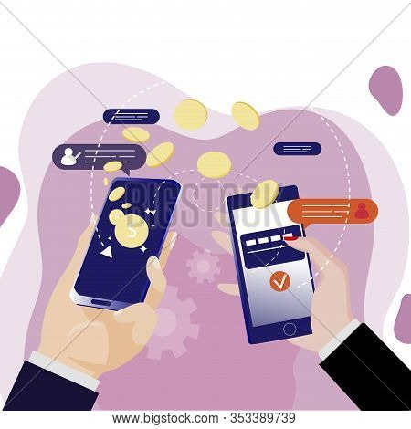 Mobile Money Transfer With App. Online Banking, Vector Hold Phone Transfer Pay, Easy Smart And Fast