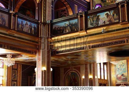 Sharm El Sheikh, Egypt - Detsember 26, 2019: Coptic Orthodox Church Interior- All Saints Church. All