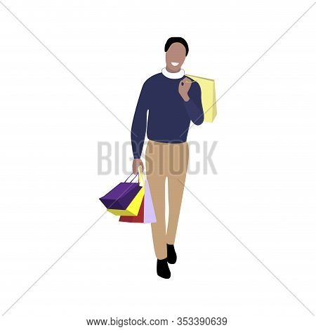 Shopper With Packs Purchase. Character Customer, Consumerism Concept, Man After Shopping In Mall. Ve