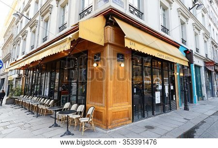 Paris,france-february 26 , 2020 : View Of Typical Parisian Cafe Lorette Located Near Notre Dame De L