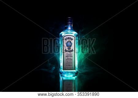 Baku, Azerbaijan - June 16. 2019, Bottle Of Bombay Sapphire, A Brand Of Gin Distributed By Bacardi.