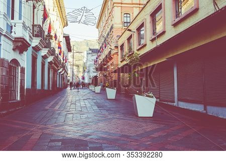 Quito, Ecuador - February 07, 2020: The Main Pedestrian Street At Historic Colonial Downtown Of Quit
