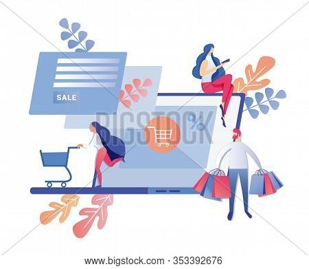 People Actively Shopping Online, Using Laptop Or Phone, Not Living Home, Enjoying Advantages Good Ba