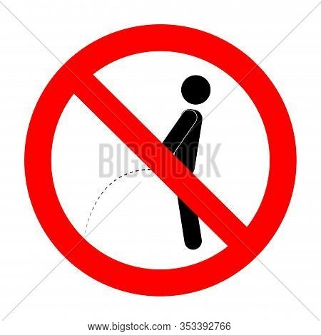 Ban Piss Symbol. Vector Ban And No Toilet, Forbidden Peeing And Pissing Label Illustration