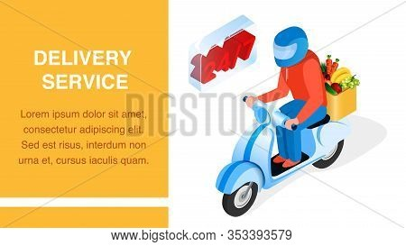 Order Delivery Service Isometric Banner Layout. 3d Man, Driver On Scooter Cartoon Character. 24h Pro