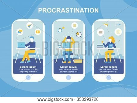 Procrastination Mobile Text Landing Page Flat Set. Overworked, Tired, Exhausted Business People Work