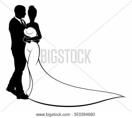 Bride And Groom Wedding Couple In Silhouette With In A White Bridal Wedding Dress Gown