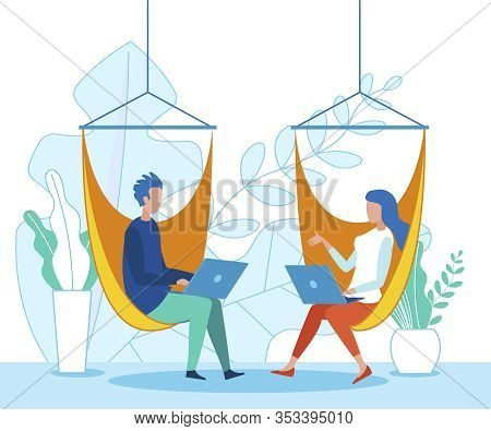 Office People Sitting On Hammock Work With Pleasure On Laptop, Chatting Or Sharing Ideas. Employees