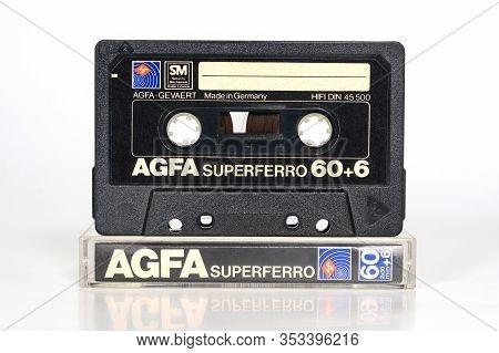 Agfa Superferro 60 Black, Audio Compact Cassette. Rare Vintage Audio Cassette With Sm Security Mecha