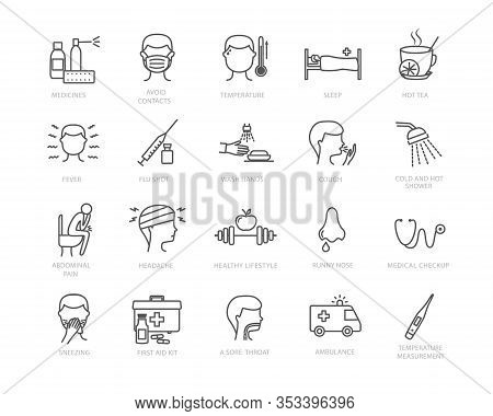Large Collection Of Black And White Line Drawing Flu And Medical Icons Showing Ill People, Preventio