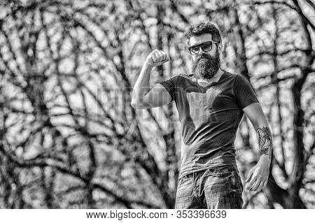 Bearded Hipster Brutal Man Wear Protective Sunglasses. Man Bearded With Sunglasses Nature Background