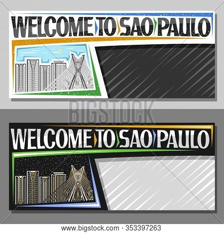 Vector Layouts For Sao Paulo With Copy Space, Voucher With Line Illustration Of Modern Sao Paulo Cit