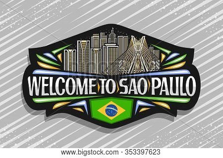 Vector Logo For Sao Paulo, Black Decorative Sign With Line Illustration Of Famous Sao Paulo City Sca