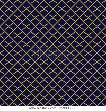 Abstract Simple Pattern With Golden Criss-cross Lines. Black And Gold Ornamental Background. Seamles