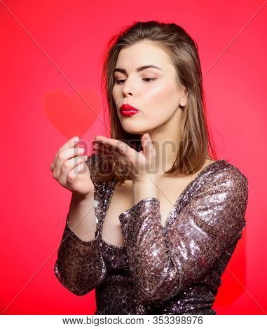 Spread Romantic Mood Around. Sweet Kiss. Air Kiss. Love You So Much. Woman Attractive Kiss Face Send