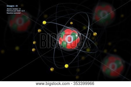 3d Illustration Of Atom Of Oxygen With Detailed Core And Its 8 Electrons With Atoms In Background