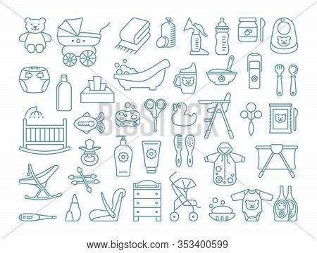 Feeding, Bathing And Baby Care. Set Of Linear Icons