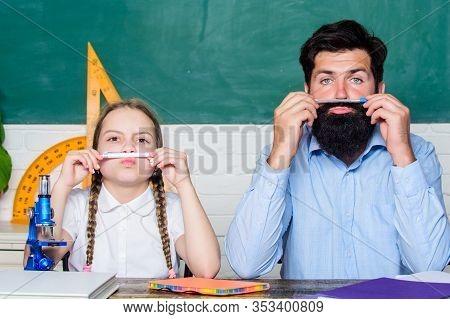 Fascinating Lesson. School Teacher And Schoolgirl. Man Bearded Teacher Excellent Pedagogue. Pedagogu