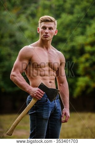 Surviving In Wild Nature. Brutality Is Sexy. Strength And Power Concept. Sexy Macho Bare Torso. Hand