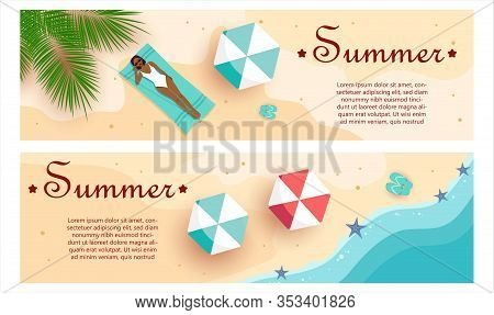 Set of summer gift certificates. Hello Summer, summer time, summer day, summer day background, summer banners, summer flyer, summer design African American girl sunbathes in a swimsuit. View summer from above. Unusual summer design of the coupon used for