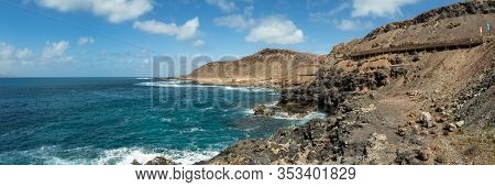 Extra Large Panorama From La Isleta An Warm Sunny Day With Briht Blue Sky And White Clouds. Las Palm