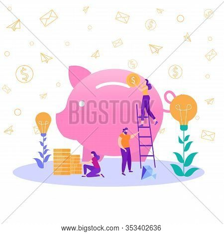 Big Piggy Bank Bankers Engaged In Work Woman On Stepladder Put Coins Moneybox Financial Monetary Ser